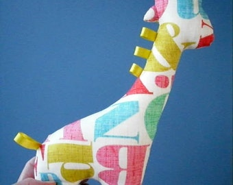 adorable stuffed giraffe baby toy- alphabet print