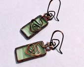 Stained Glass and Copper Earrings, Glass Earrings, Copper Earrings, Stained Glass Jewelry