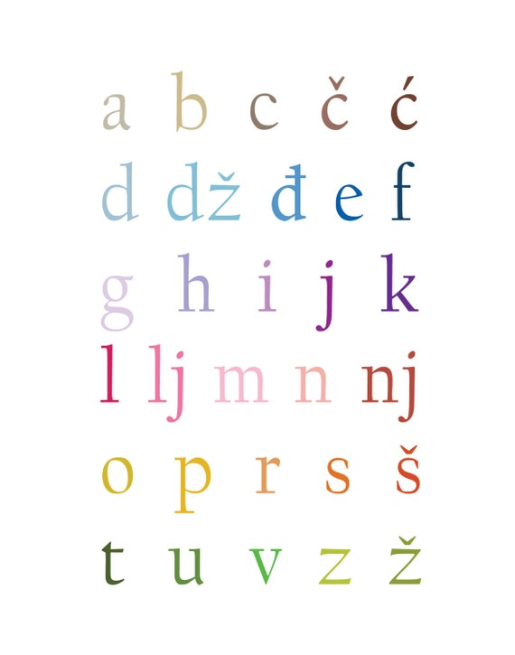 Croatian Alphabet Art Print 11x14 By Simpleculture On Etsy