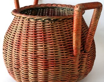 IKEBANA BASKET - Antique Japanese Woven with 2 Unusual Handles