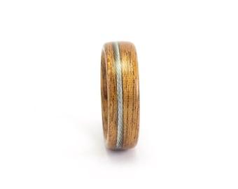 Wooden Ring, Wood Ring, Wood Wedding Ring, Men's Wood Ring, Bicycle Ring, Mahogany Ring, Bicycle Cable Ring, Wedding Band Men, Bentwood Ring