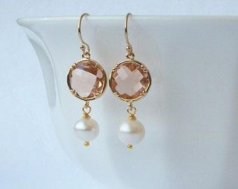 Blush Crystal Pearl Dangle Earrings, Peach Jewelry