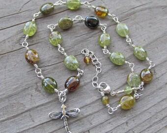 Dragonfly Green Garnet Golden Apatite Spirit Animal Healing Gemstone Necklace