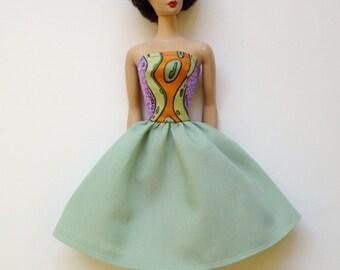 Handmade Barbie Clothes dress strapless green orange (G114)