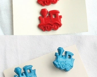 Red Blue Train Buttons Vintage Primary Color Childrens Buttons Red Blue Choo Choo Train 6 Button