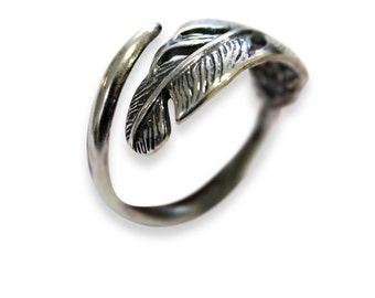 Long Quilled Feather Ring - White Bronze with Sterling Silver Overlay -Adjustable Feather Ring 330