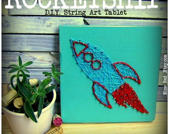 "String Art Pattern - Rocketship - 10"" x 4.5"""