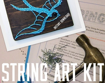 DIY String Art KIT - Vintage Swallow - All supplies included!