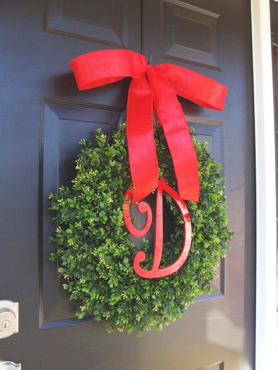 Christmas Decor- Christmas Wreaths Holiday Boxwood Wreath, Christmas Wedding Decor Ready to Ship- 16-22 inches available