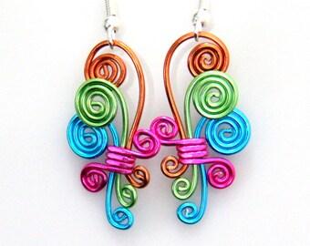 Cascading Spiral Dangle Earrings