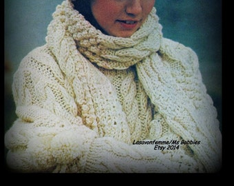 Aran Sweater, Mittens, Hat and Scarf Pattern Knitting - Bust Size 34-36, 38-40 - PDF 010377 - Instant Download