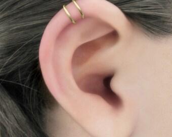 Duality - 14k Gold Filled Helix Double Band Ear Cuff, No Piercing, Gold Fill Ear Cuff, Upper Ear Cuff, Fake Piercing, Helix Earring, Earcuff