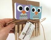 Owl Art Display Clips, Purple and Blue,  Owl Kids Decor, Owl Wall Art, eco-friendly