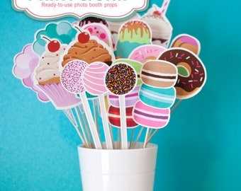 Sweet Shoppe PHOTO BOOTH PROPS - Printed & Shipped to your door - cupcakes, ice cream, cake pops, donuts >> shipped to you | Paper and Cake