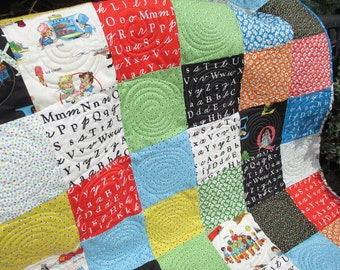 Baby Quilt Primary Colors With Alphabet Crib Quilt