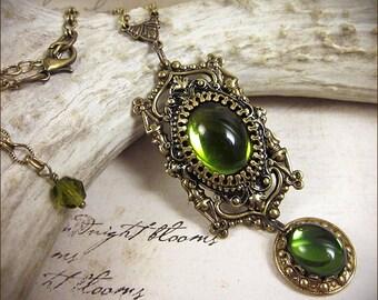 Renaissance Necklace, Green Jewel, Medieval Pendant, Olive Necklace, Medieval Necklace, Tudor Costume, Renaissance Costume, GothCath