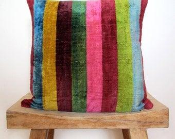 Velvet Rainbow Stripe Cushion, Pillow Cover 40 x 40 cm, 16 inch