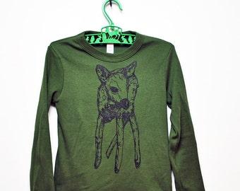 Deer Long Sleeve Kid's Tee - Olive Green