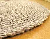 Crochet rag rug. Round, blue 100 per cent cotton chambray. Reuse, recycle, eco. 32 inches.