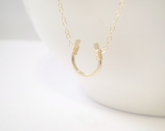 Tiny Luck Necklace - Tiny Horseshoe Necklace - 14k Gold Filled, Sterling Silver, and Rose Gold Filled