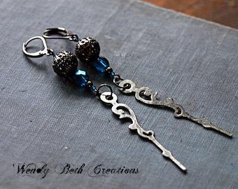 Blue Crystal Clock Hand Steampunk Earrings