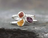Multi Color Sapphire Rings -  Raw Uncut Rough Sapphires - Sterling Silver Stacking Rings-Colored Gem Ring -Raw Sapphire-September Birthstone
