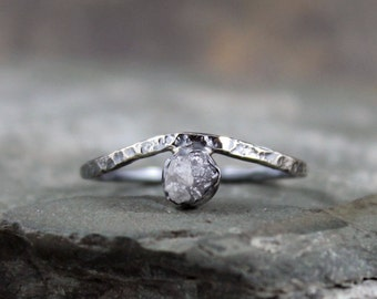 Raw Diamond Wave Ring - Sterling Silver - Rough Diamond Rings - Engagement Rings - April Birthstone - Rustic Jewellery - Promise Ring