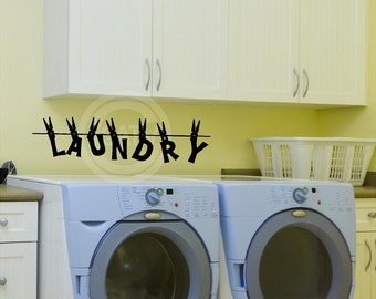 Laundry with clothespins vinyl lettering wall decal sticker