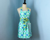 Turquoise Blue Diamonds Full Apron for Women with Dena Designs Fabric