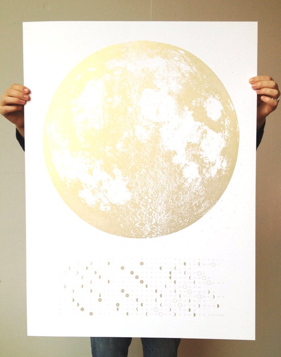 2014 Moon Phases Calendar, 22x30 large screenprint, silver gold or grey print on black, luna lunar wall art, space, stars