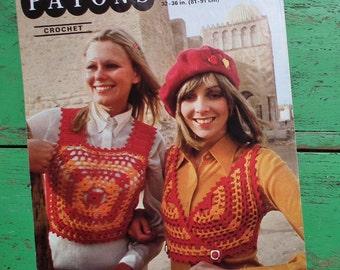 Vintage 70s Crochet Pattern Women's Cropped Tank Top Cross-Over Top Vest Hippy Boho Style 1970s original pattern Patons No. 2195 UK