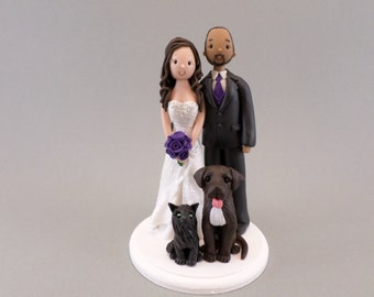 Bride & Groom With Pets Personalized Wedding Cake Topper