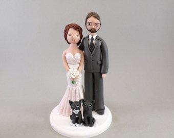 Unique Cake Toppers - Bride & Groom With Cats Customized Wedding Cake Topper