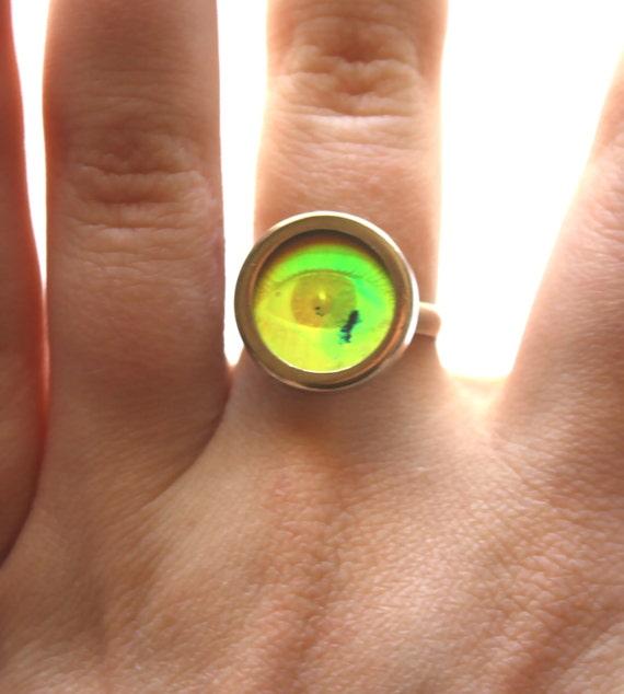 VTG 90s Hologram EYE Ring with spots