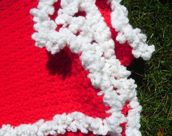 Red and White Crocheted Baby Blanket