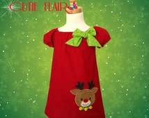 Girls Christmas Dress, Rudolph Dress, Baby Christmas Dress, Reindeer Dress, Red Christmas Dress, Red Peasant Dress, Made to Order 12M-3T