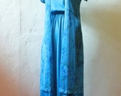 Blue Floral Dress -xs/s- Asian-Inspired Vintage Two Piece Set
