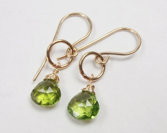 Peridot Earrings Wire Wrapped 14kt Gold Fill Peridot Circle Earrings August Birthstone Mothers Day Gift