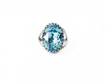 Silver Cocktail Ring - Swarovski Crystal, Brass - Aqua Blue - The Cocktail: Large Oval Bezel Set