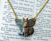 Bunny Angel Necklace IV Butterfly Winged Rabbit Small, Detailed Rabbit Fur and Blue Veined  Wings. Pet Long-ear Cottontail Bunny Coney Hare