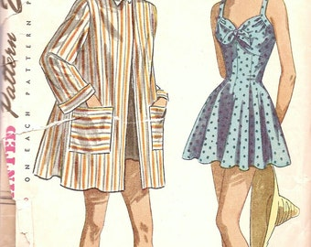 1940s Bathing Suit Pattern - 40s Play Suit Pattern - Retro Beach Robe - Pattern - Vintage Sewing Pattern - Simplicity 2441