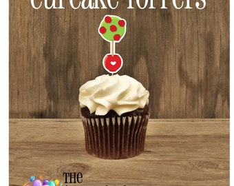 Alice in Wonderland Party - Set of 12 Red Rose Cupcake Toppers by The Birthday House