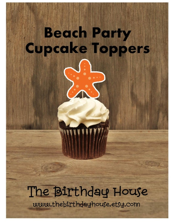 Beach Party - Beach Fun Collection, Set of 12 Starfish Cupcake Toppers by The Birthday House