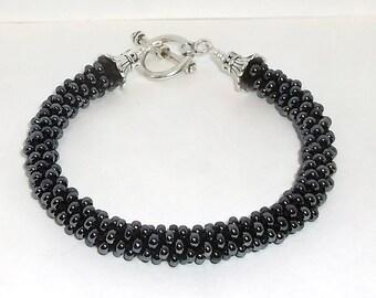 Charcoal Grey  Kumihimo Beaded Bracelet - 1371