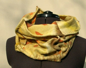 Wool scard cowl eco printed