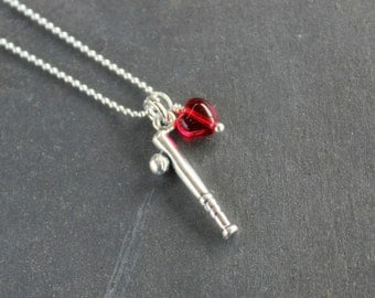 I Love Baseball Necklace - sterling silver bat and ball charm & red heart on sterling ball chain - for coaches, players - free shipping USA