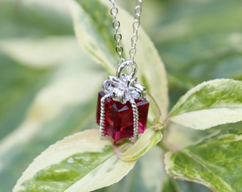 Tiny present necklace - ruby red gift box pendant on sterling silver chain - Christmas present - July Birthstone - free shipping USA