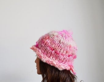 Pink Hat..Chunky Winter Cap..Woman Unique Cloche