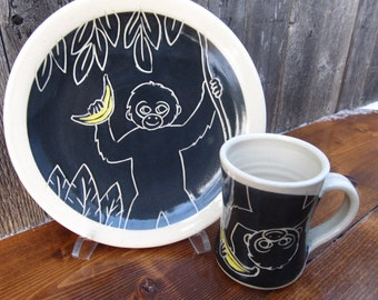 Monkey Plate and Mug Set / Children / Kids