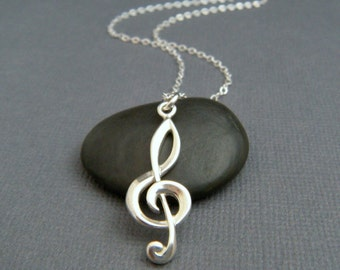 silver treble clef necklace. large sterling music note. G clef. musical symbol. simple modern jewelry. musician gift. orchestra pendant